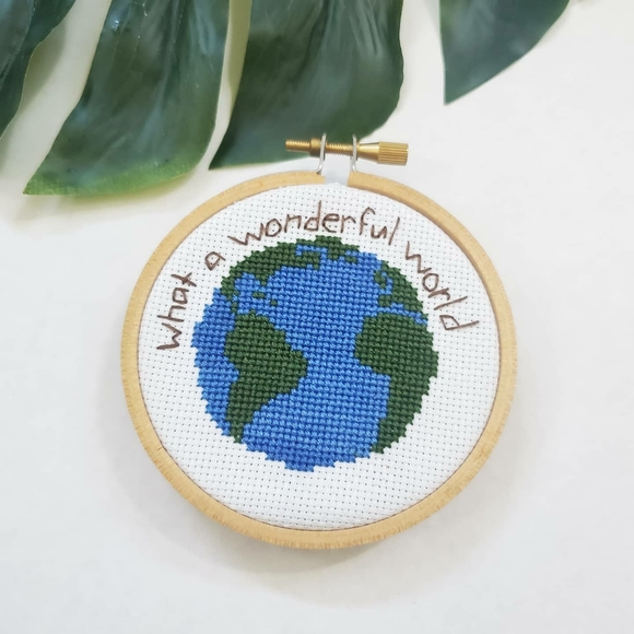 Other - Earth cross stitch finished hoop
